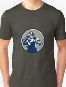 Vintage Fireman Firefighter Aiming Hose Circle Woodcut T-Shirt