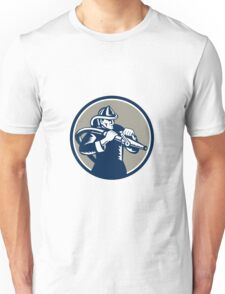 Vintage Fireman Firefighter Aiming Hose Circle Woodcut Unisex T-Shirt