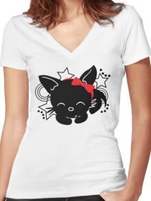 Sleepping Cat silhouette with bow Women's Fitted V-Neck T-Shirt