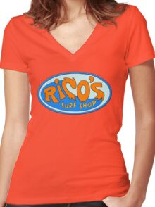 Rico's Surf Shop Women's Fitted V-Neck T-Shirt