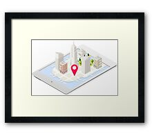 NYC Buildings Map on Tablet Framed Print