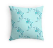 Dolphins Leaping Pattern Turquoise Blue Throw Pillow