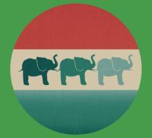 Three Elephants - Burnt orange, cream & teal Kids Tee