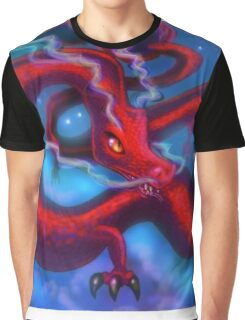 Red Dragon on a Starry Night Sky Graphic T-Shirt