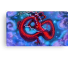 Red Dragon on a Starry Night Sky Canvas Print