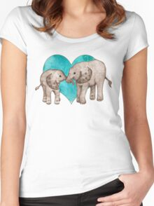 Baby Elephant Love - sepia on teal watercolour Women's Fitted Scoop T-Shirt