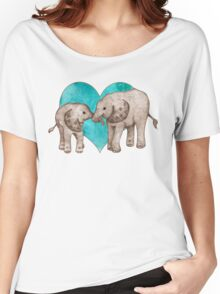 Baby Elephant Love - sepia on teal watercolour Women's Relaxed Fit T-Shirt