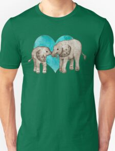 Baby Elephant Love - sepia on teal watercolour Unisex T-Shirt