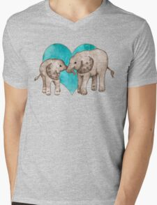 Baby Elephant Love - sepia on teal watercolour Mens V-Neck T-Shirt