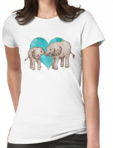 Baby Elephant Love - sepia on teal watercolour Womens Fitted T-Shirt