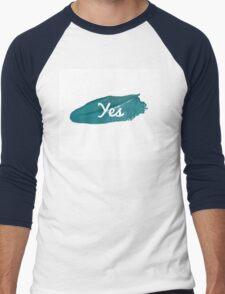 Yes print on green blue paint smear Men's Baseball ¾ T-Shirt