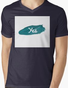Yes print on green blue paint smear Mens V-Neck T-Shirt