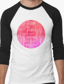 Inspirational Text on Pink Watercolor Abstract Men's Baseball ¾ T-Shirt