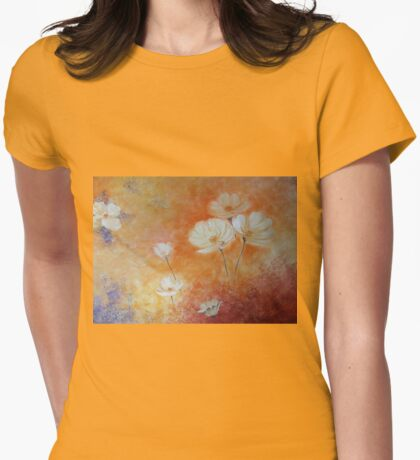 Cosmea white Flower Womens Fitted T-Shirt