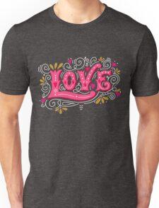 Floral love lettering Unisex T-Shirt