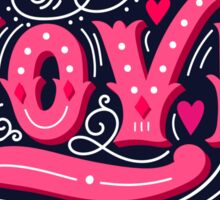Floral love lettering Sticker
