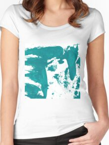 Artistic brush paint smears in sea green Women's Fitted Scoop T-Shirt