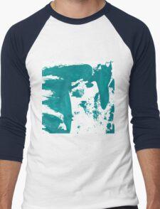 Artistic brush paint smears in sea green Men's Baseball ¾ T-Shirt