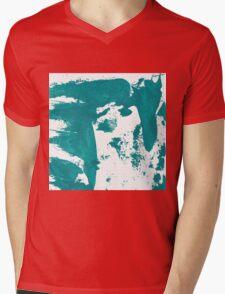 Artistic brush paint smears in sea green Mens V-Neck T-Shirt