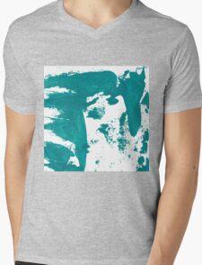 Artistic brush paint smears in sea green Mens V-Neck T-Shirt