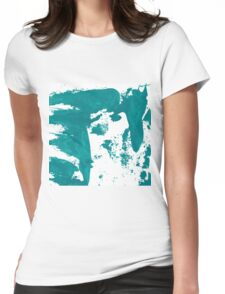 Artistic brush paint smears in sea green Womens Fitted T-Shirt