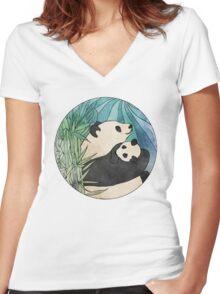 Panda Love Women's Fitted V-Neck T-Shirt