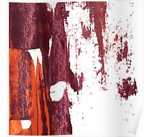 Artistic brush paint smears in deep violet red Poster