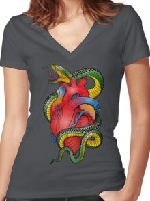Snake and Heart color Women's Fitted V-Neck T-Shirt