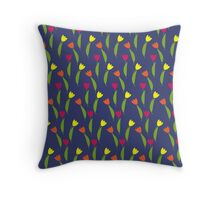 Spring Seamless Pattern with Tulips Throw Pillow
