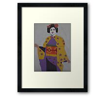 Japanese Geisha in Purple and Yellow Framed Print