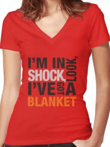 Sherlock blanket quote typography Women's Fitted V-Neck T-Shirt