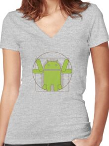 Vitruvian Android Women's Fitted V-Neck T-Shirt