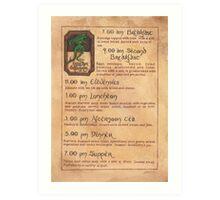 The Green Dragon Menu Art Print