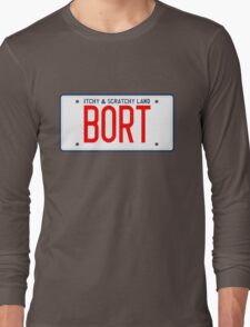 Bort License Plate – Itchy & Scratchy Land, Simpsons Long Sleeve T-Shirt