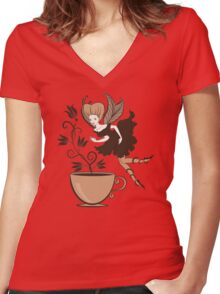Coffee fairy Women's Fitted V-Neck T-Shirt