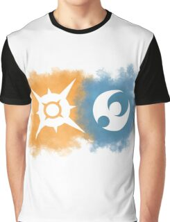 Pokemon Sun and Moon logos Graphic T-Shirt