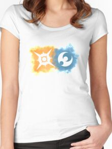 Pokemon Sun and Moon logos Women's Fitted Scoop T-Shirt