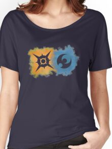 Pokemon Sun and Moon logos Women's Relaxed Fit T-Shirt