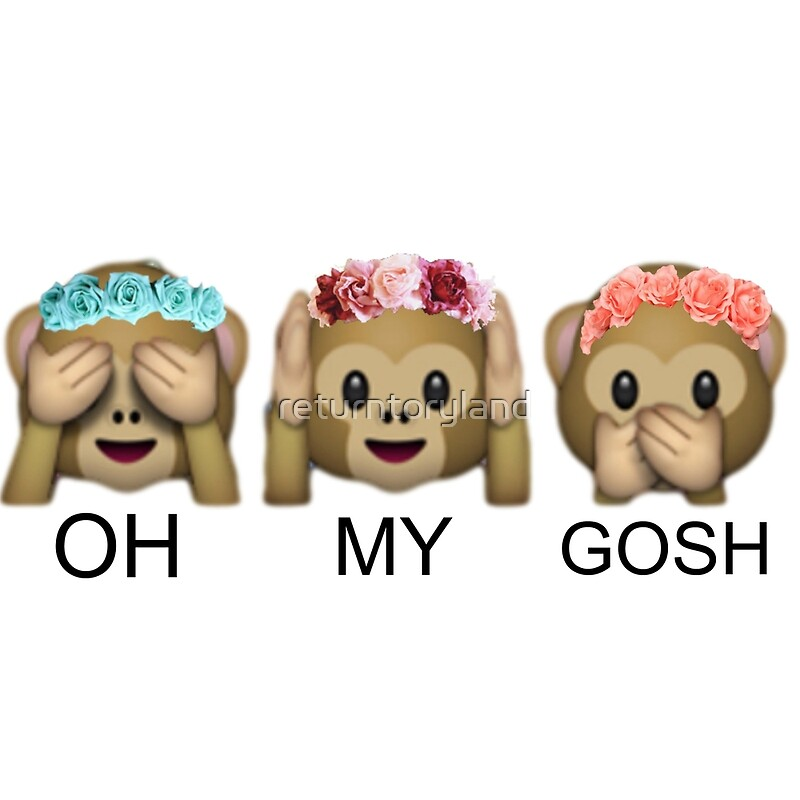 Quot Oh My Gosh Flower Crown Tumblr Emoji Monkey Quot Art Prints