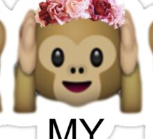 OH MY GOSH - FLOWER CROWN TUMBLR EMOJI MONKEY Sticker