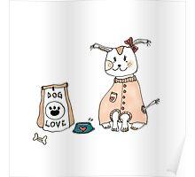 Cute Dog // ink + Marker Poster