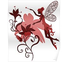 Fairy silhouette with flowers Poster