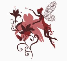 Fairy silhouette with flowers Baby Tee