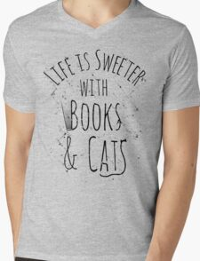 life is sweeter with books & cats Mens V-Neck T-Shirt