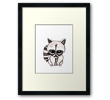 Adorable Watercolor Raccoon with Painted Mustache Framed Print