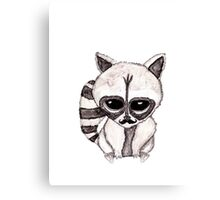 Adorable Watercolor Raccoon with Painted Mustache Canvas Print