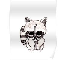 Adorable Watercolor Raccoon with Painted Mustache Poster