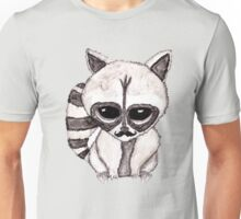 Adorable Watercolor Raccoon with Painted Mustache Unisex T-Shirt