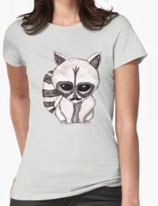 Adorable Watercolor Raccoon with Painted Mustache Womens Fitted T-Shirt