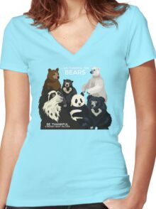 I Am Thankful For Bears Women's Fitted V-Neck T-Shirt